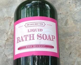 Rose Bouquet Body Wash, Bubble Bath, Organic, Natural Liquid Soap, Rose Liquid Soap, 8 oz