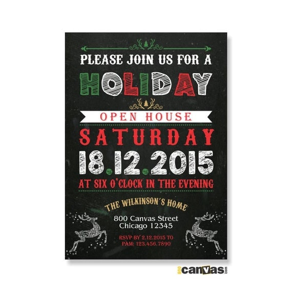 fun chalkboard style christmas invitation