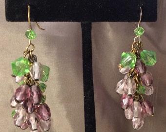 Crystal grape cluster earrings
