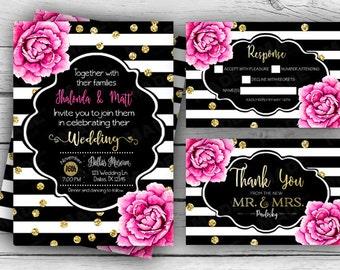 PINK PEONIES WEDDING Set, Invitation, rsvp, Thank you card, Custom Invites, Printable file, Stationery