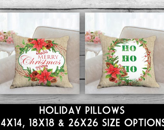 HOLIDAY POINSETTIA Double-Sided Pillow, CHRISTMAS, Ho Ho Ho, Merry Christmas, Home Decor, Seasons, Decoratative Pillows, Pillows, Decor