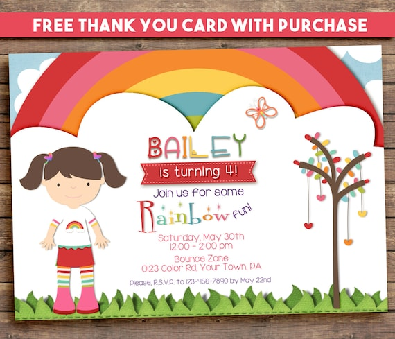 Rainbow Party Invitation, Printable, Birthday,  5x7. FREE THANK YOU Card!