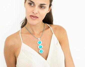 Turquoise Stones Necklace, Statement necklace, Leather necklace, Pendant necklace, Silver necklace, Wrapped stone necklace, Stylish necklace