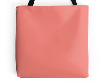 Solid Coral Tote Bag, Coral Bag, Coral Purse, Coral Handbag, Solid Coral Tote, Solid Orange Tote, Orange Purse, Solid Coral Bag