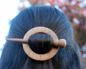 Mahogany Wooden Shawl Pin or Hair Stick