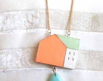 Wooden house pendant , wearable art , Hand painted