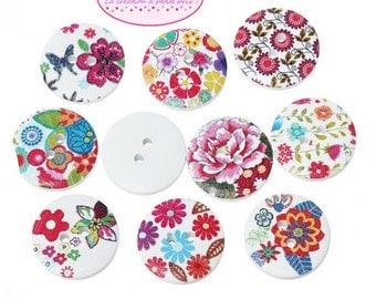 50 buttons flower 2cm round