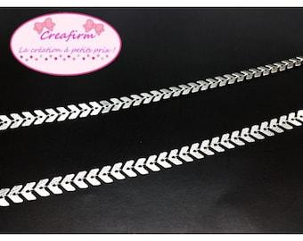 Chain mesh Chevron herringbone, silver, per metre