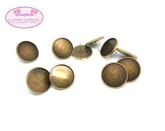 10 chips Bronze tray Cabochon 20mm and 10 clasps