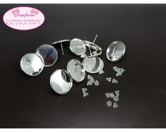 10 chips silver tray Cabochon 20mm with Stoppers clasps
