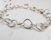 Sterling Silver bracelet, loop link bracelet with irregular organic links Hallmarked