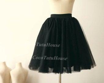 Black Tulle Skirt/ Adult Women Short Skirt/ Bridesmaid Skirt /TUTU Tulle Skirt/Wedding Dress Underskirt/Bachelorette TuTu