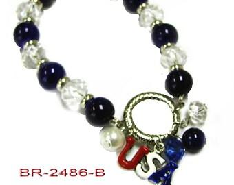 USA Patriotic Stretch Bracelet with dangles