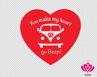 You make my heart go Beep VW Sticker