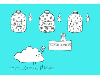 Cloud Supplies - A4 Giclee print - Weather Print - Childrens Art Print - Quirky Illustration