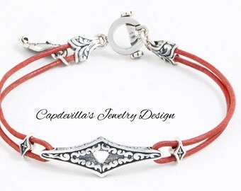 Sterling Silver with Leather Bracelet