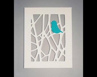 Bird in Tree - Cut Canvas