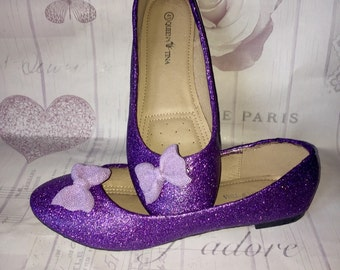 Uk size 8, Glitter flats with glitter polymer clay bow