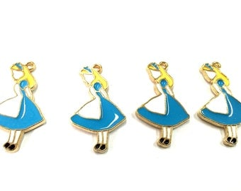 Large Alice in Wonderland Enamel Charms 5pcs