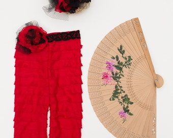 Set of Newborn Baby Girl, Spanish Dancer Costume, Photography Prop. Headband & Pants with a removable Flower