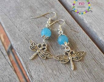 Something Blue Earrings Dragonfly Earrings Gemstone Earrings Dangle Earrings Boho earrings Bohemian jewelry Beaded Earrings