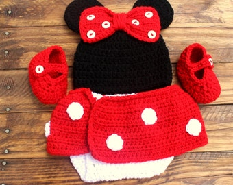 Crochet Minnie Mouse Infant Set - Hat, Diaper Cover, Booties - Size 0-3 Months