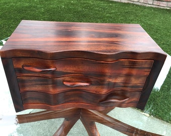 Exceptional Hand Crafted Studio Solid Rosewood Jewelry Chest Abstract Mid Century Modern Nakashima Eames