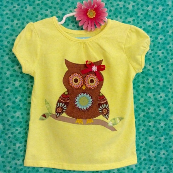 Owl appliqué short sleeve top for infant and toddler girls