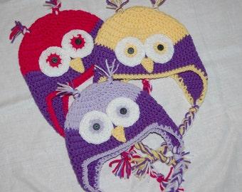 Crochet Owl Hat with Earflaps Custom Colors