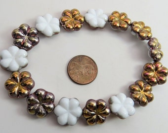 Czech Metallic and White Mix Flower 17mm Large Posey 6 Petal Pressed Glass 6 Beads PRE17FL001