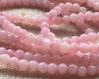 Vintage Pink Simulated Opal Glass Necklace/Long Necklace/1920s Style/1990s