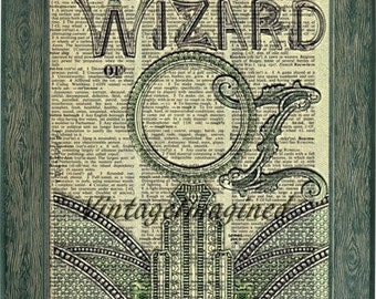 Wizard of Oz vintage art  print on 8x10 upcycled dictionary page 8x10