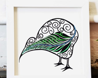 Archival print Kiwi bird - kiwi bird and silver fern, paper cutting, New Zealand Kiwi, hand cut, archival print