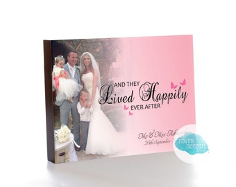 Personalised 'Happily Ever After' Wedding Wooden Photo Block