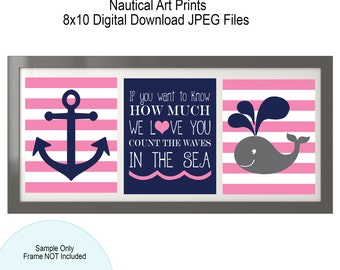Nautical Art Prints - Digital File - 8x10 - Anchor - Whale - Count the waves in the sea - Pink and Navy - Nautical Nursery
