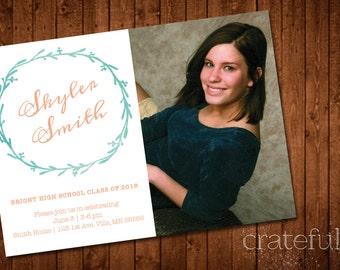 Watercolor Leaves- Graduation Announcement/Invite- Photos- Digital- Printable- Custom