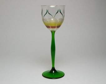 Art Nouveau Theresienthal enamelled & gilded hock wine glass, c.1900