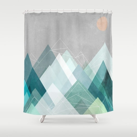 Items Similar To Blue Gray Mountain Shower Curtain Gray Blue White Shower Cur