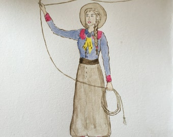 Vintage Cowgirl watercolor painting western decor girls decor cowgirl decor