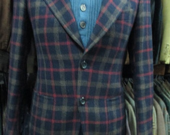 Giacca uomo scozzese anni 70/ Pura lana/  1970's plaid blue jacket/ tartan jacket/Pure wool/Made in Italy