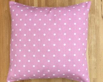 Pink and White Polka Dot Cushion Cover