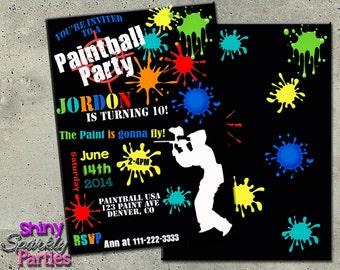 PAINTBALL INVITATION - Paintball BIRTHDAY Invitation - Paintball Invite - Paintball Birthday Party Invitation - Teen boy - paintball party