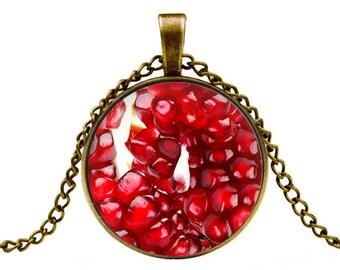 pomegranate necklace pendant fruit pendant necklace pomegranate jewelry -with gift box