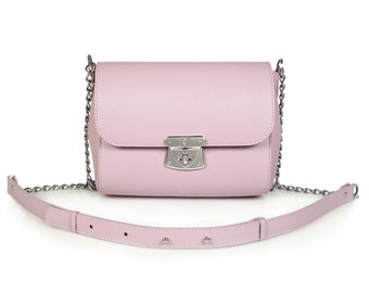 Leather Crossbody Bag, Lilac Leather Shoulder Bag, Women's Leather Cross body Bag, Leather bag KF-470