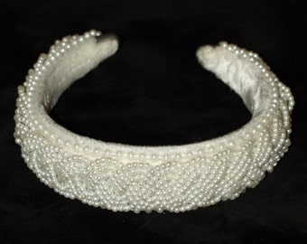 White Beaded Pearl Wedding Bridal Headband Women Headpiece Accessory