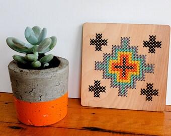 "Modern Geometric Cross Stitch, Tribal Pattern, 6"" by 6"" Wall Hanging"