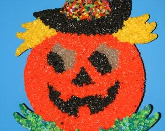 Vintage Halloween Melted Plastic Popcorn Pumpkin Decoration