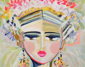 Warrior Girl PRINT woman art impressionist modern abstract girl on canvas