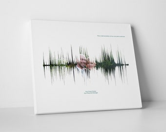 Personalised Couples Wedding Anniversary Sound Wave Photo 16 x 12 Inch Canvas Print