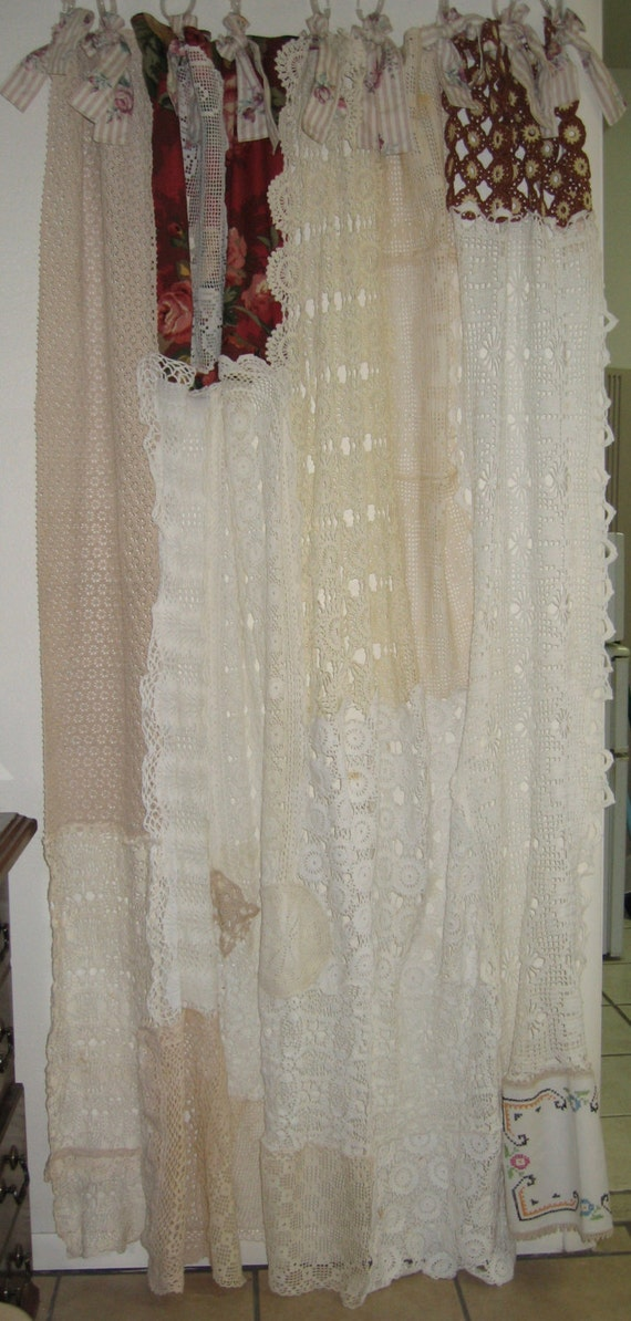 Shabby Chic Vintage Crochet Shower Curtain By Bohobagsnthings